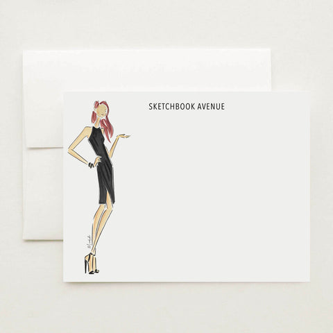 Little Black Dress Stationery Set (select hair color/skin tone and personalize name)