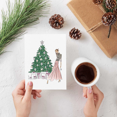Decorating The Tree Greeting Card (select hair color/skin tone)