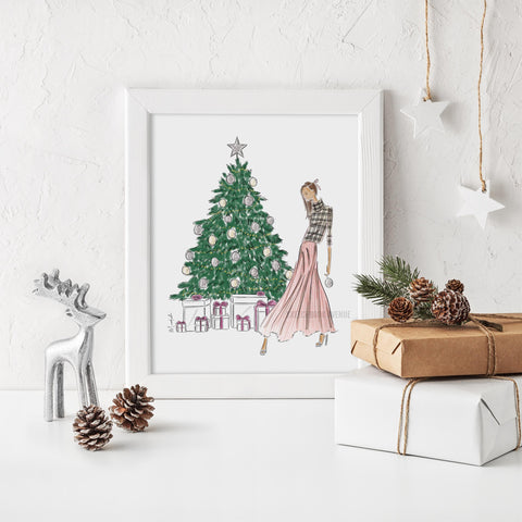 Decorating the Tree Print (select hair color/skin tone)