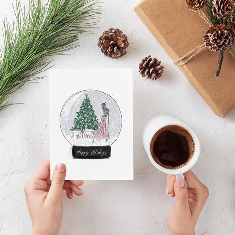 Decorating The Tree Snow Globe Greeting Card (select hair color/skin tone)
