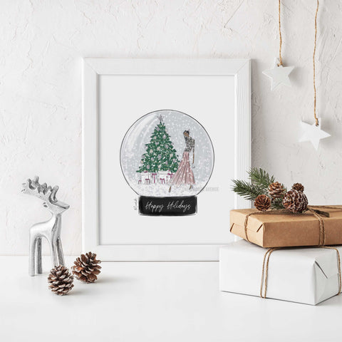 Decorating the Tree Snow Globe Print (select hair color/skin tone)