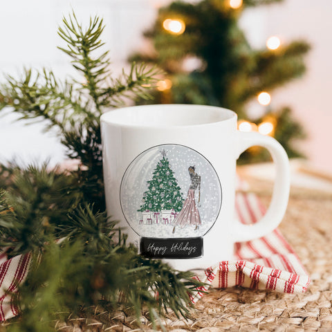 Decorating The Tree Snow Globe Mug (select hair color/skin tone)
