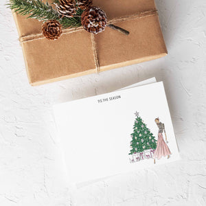 Decorating The Tree Stationery Set (select hair color/skin tone and personalize name)