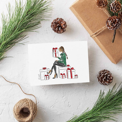 Holiday Gifts Greeting Card (select hair color/skin tone)