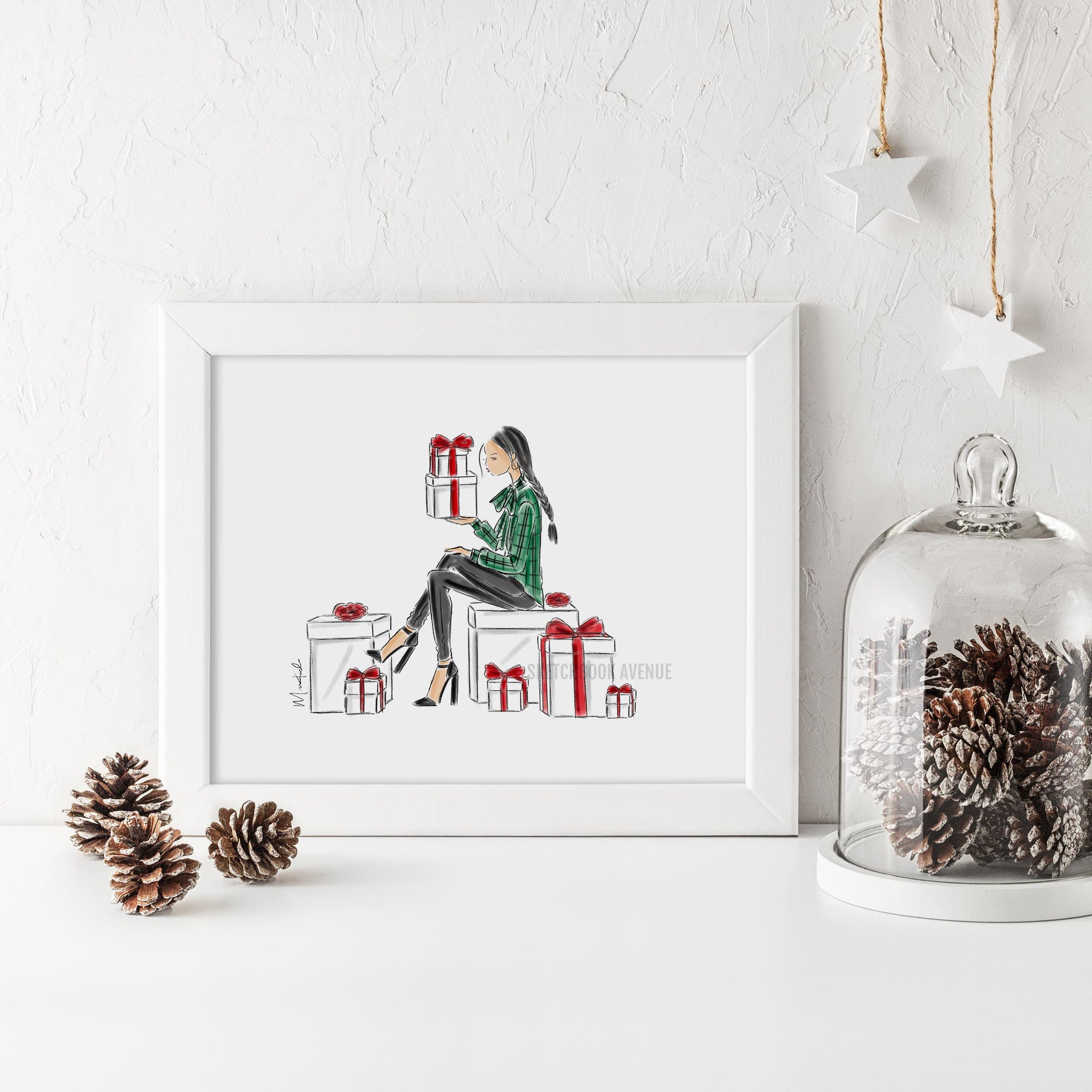Holiday Gifts Print (select hair color/skin tone)