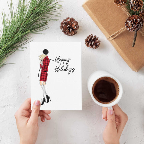 Holiday Plaid Greeting Card (select hair color/skin tone)