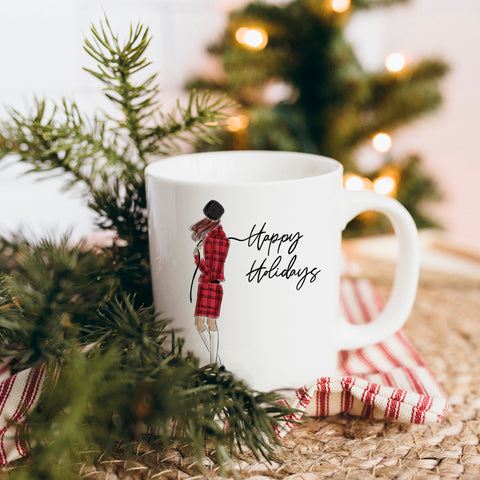Holiday Plaid Mug (select hair color/skin tone)
