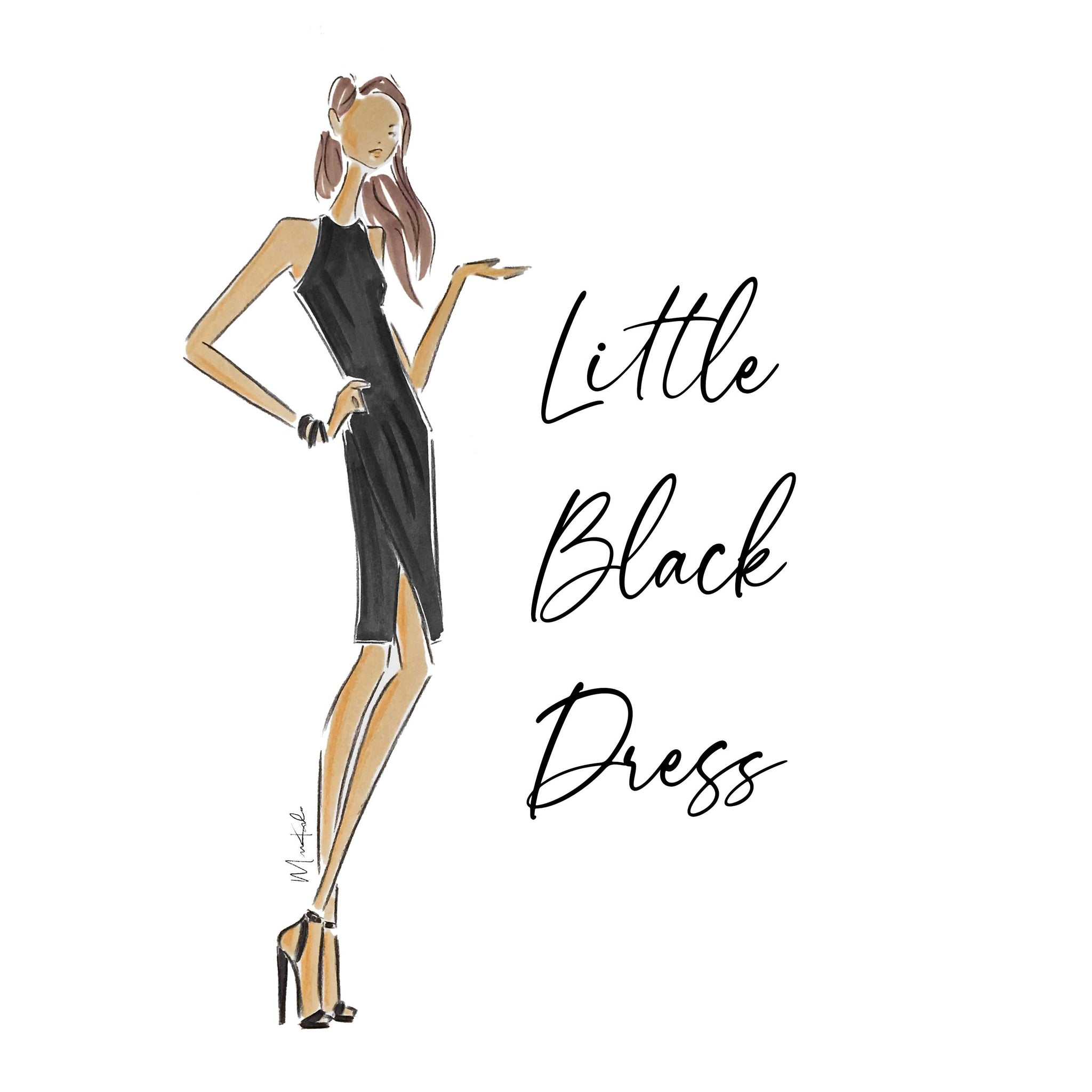 Little Black Dress Print (select hair color/skin tone)