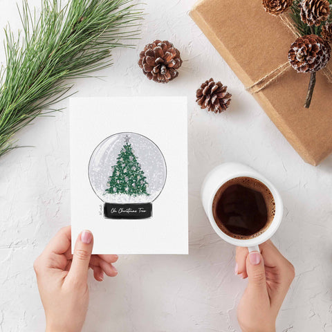 Oh Christmas Tree Snow Globe Greeting Card