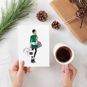 Shopping Bags Greeting Card (select hair color/skin tone)