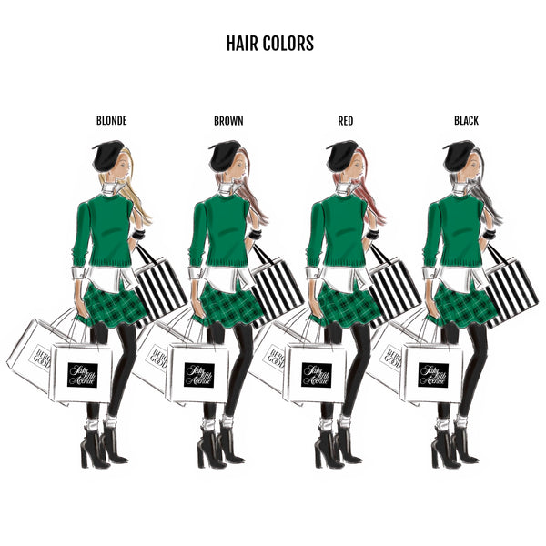 Shopping Bags Print (select hair color/skin tone)