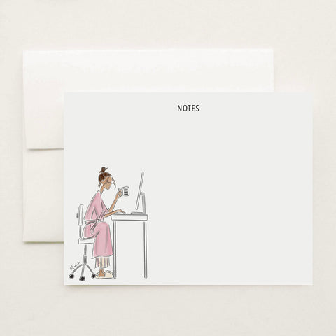 Work From Home Stationery Set (select hair color/skin tone and personalize name)