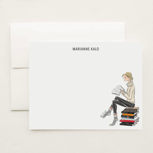 Bookworm Stationery Set (select hair color/skin tone and personalize name)