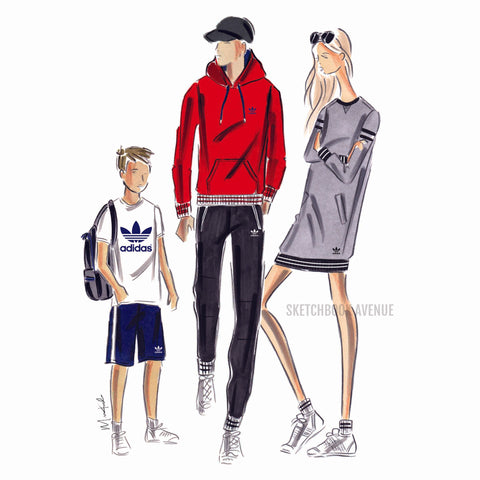 Custom Fashion Illustration Two Person and Child Portrait