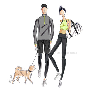 Custom Fashion Illustration Two Person and Pet Portrait