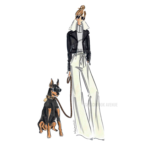 Custom Fashion Illustration One Person and Pet Portrait
