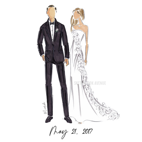 Custom Fashion Illustration Wedding Portrait
