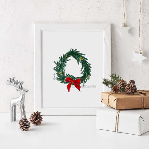 Holiday Wreath Print