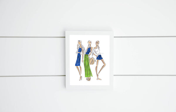 Ladies in Blue and Green Print