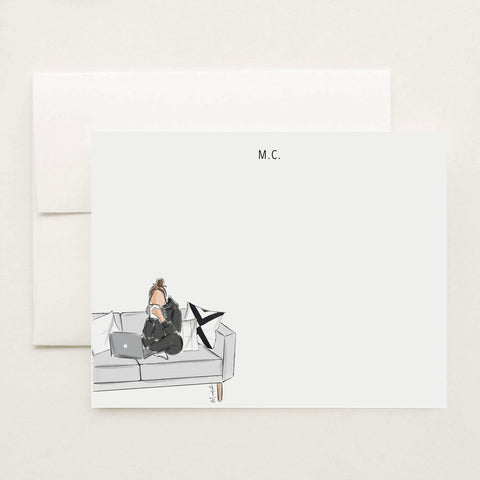 Laptop and Couch Stationery Set (select hair color/skin tone and personalize name)
