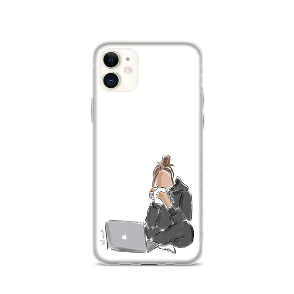 Laptop and Tea iPhone Case (select hair color/skin tone)