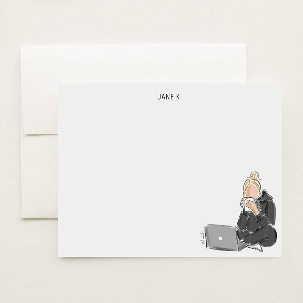 Laptop and Tea Stationery Set (select hair color/skin tone and personalize name)