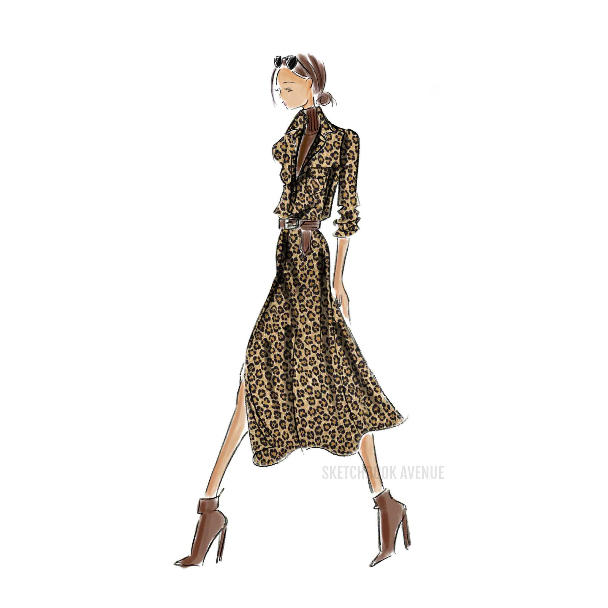 Leopard Dress Print (select hair color/skin tone)