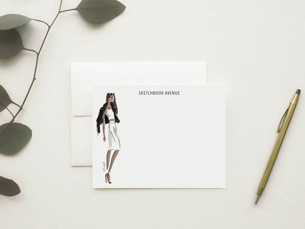 Moto Jacket Stationery Set (select hair color/skin tone and personalize name)