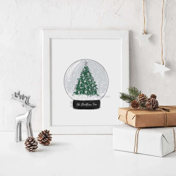Oh Christmas Tree Snow Globe Print