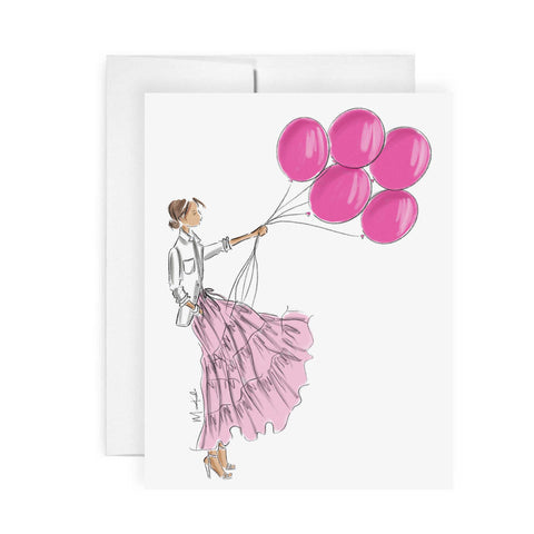 Pink Balloons Card (select hair color/skin tone)