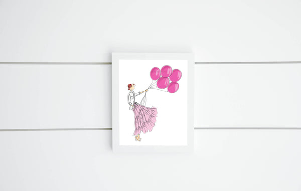 Pink Balloons Print (select hair color/skin tone)