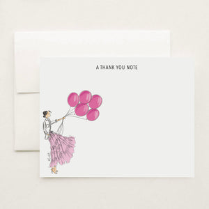 Pink Balloons Stationery Set (select hair color/skin tone and personalize name)