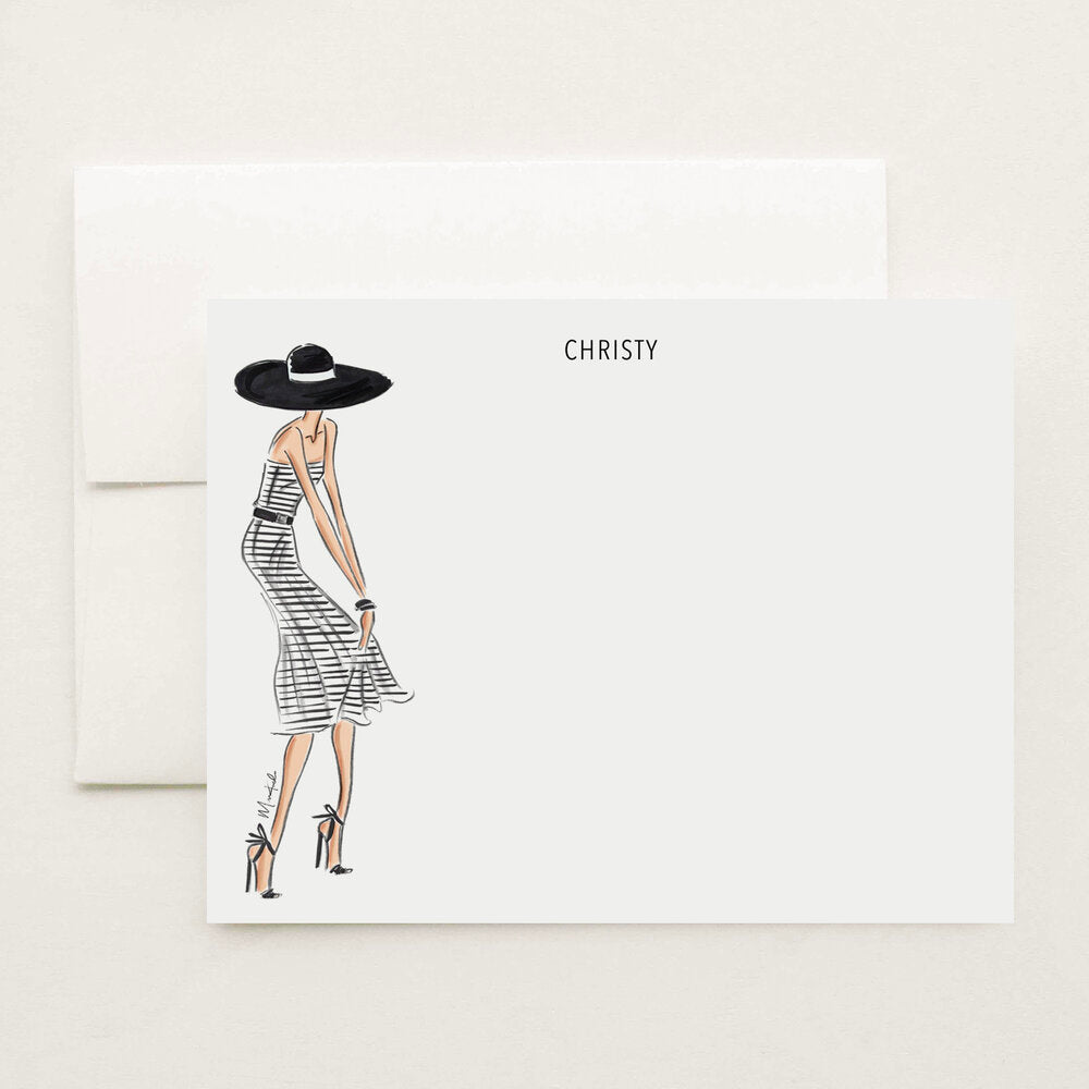 Stripe Dress Stationery Set (select skin tone and personalize name)