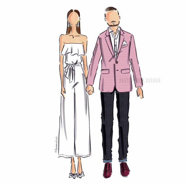 Custom Fashion Illustration Two Person Portrait