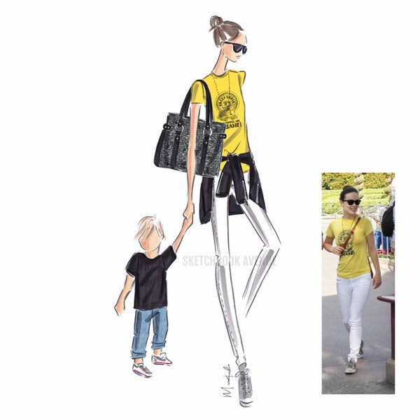 Custom Fashion Illustration One Person and Child Portrait