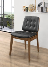 REDBRIDGE TUFTED BACK SIDE CHAIRS NATURAL WALNUT AND BLACK
