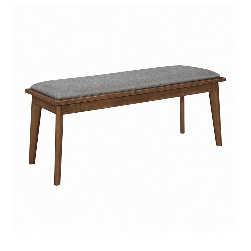 Alfredo Upholstered Dining Bench Grey And Natural Walnut