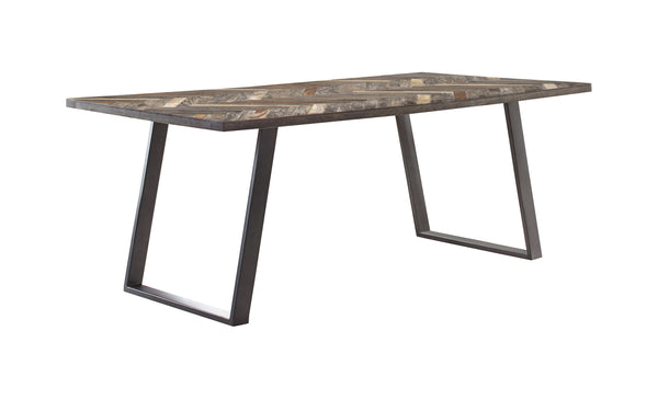 Misty Sled Leg Dining Table Grey Sheesham And Gunmetal