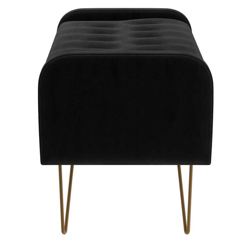 Pabel Storage Ottoman/Bench in Black with Gold Leg