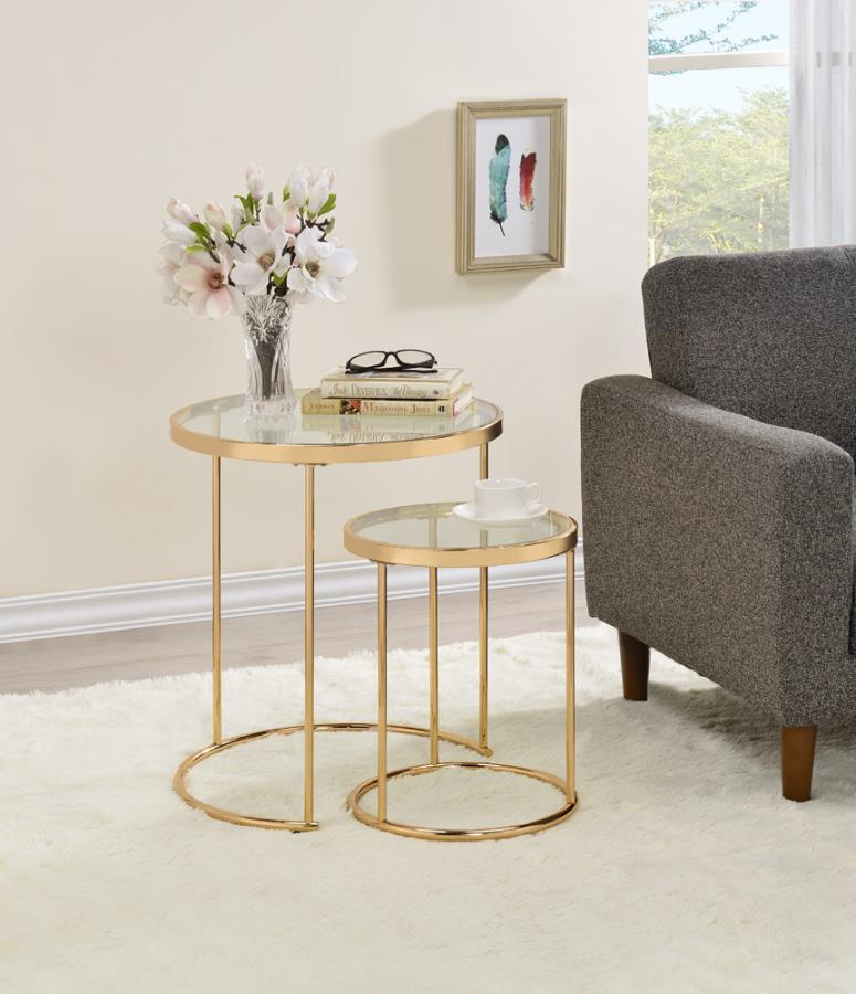 ARDEN 2-Piece Round Glass Top Nesting Tables Gold