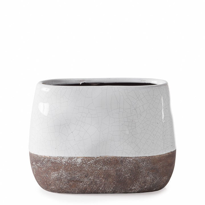 CORSICA CERAMIC CRACKLE 2 TONE OVAL POT TALL - WHITE