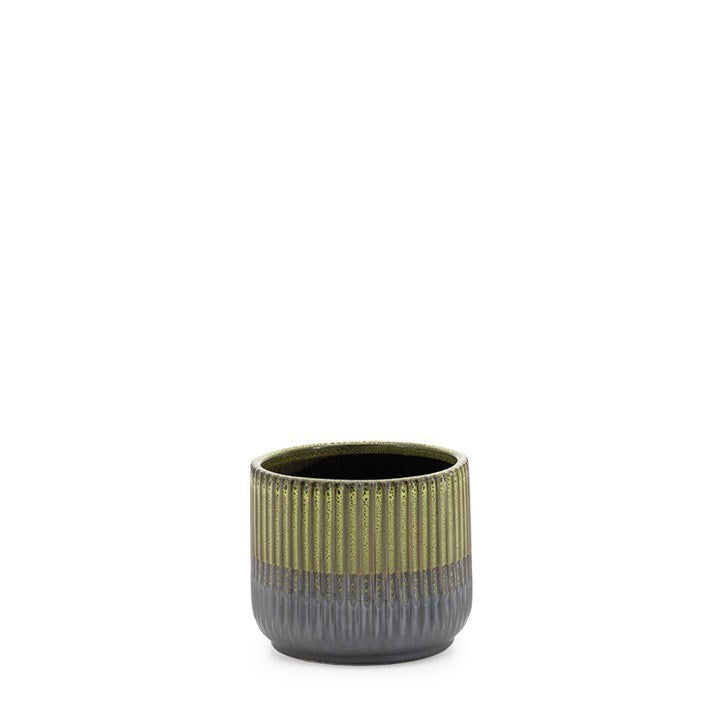 "PALMA LAYERED GLAZE CERAMIC 4.5"" DROP POT PLANTER - GREEN"