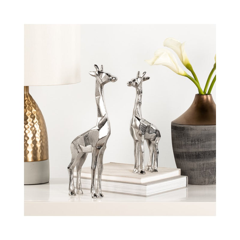 "GIRAFFE CARVED ALUMINUM 15H"" DECORATIVE STATUE - SILVER"