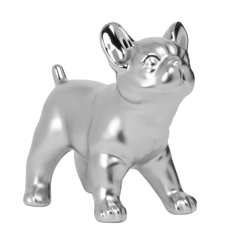 "BULLDOG STANDING 6H"" CERAMIC DECOR SCULPTURE- SILVER"