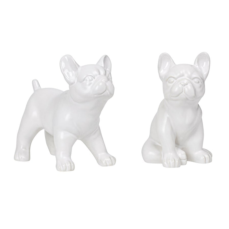 "BULLDOG STANDING 6H"" CERAMIC DECOR SCULPTURE- WHITE"