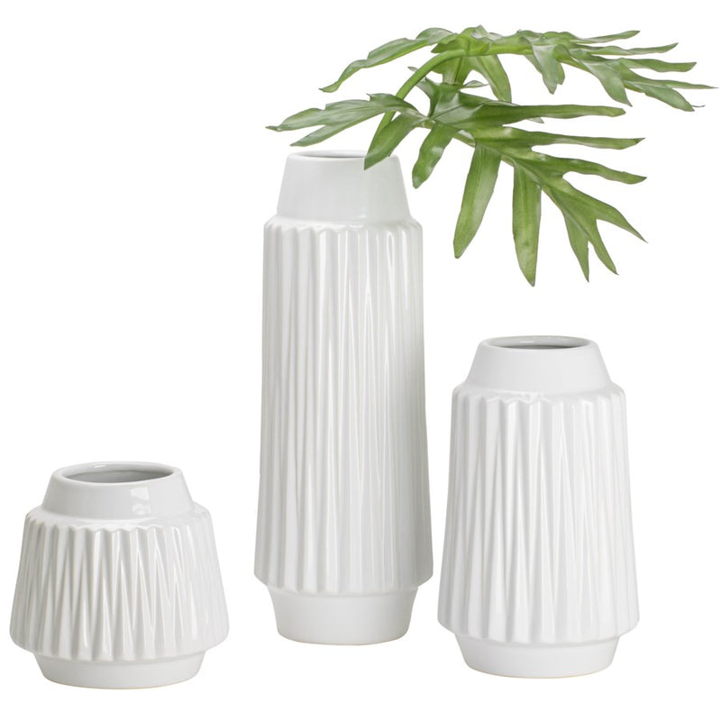 "ELLA FACETED CERAMIC 9H"" VASE - WHITE"