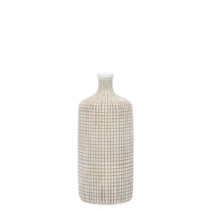 "ARMADILLO RESIN 14H"" BOTTLE VASE - WHITE"
