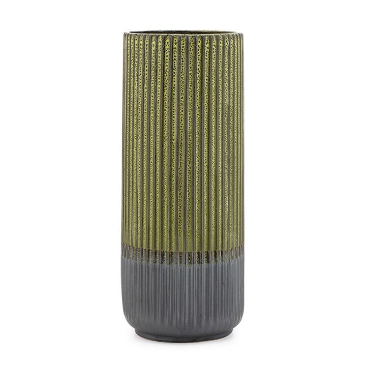 "PALMA LAYERED GLAZE CERAMIC 13.5H"" VASE - GREEN"