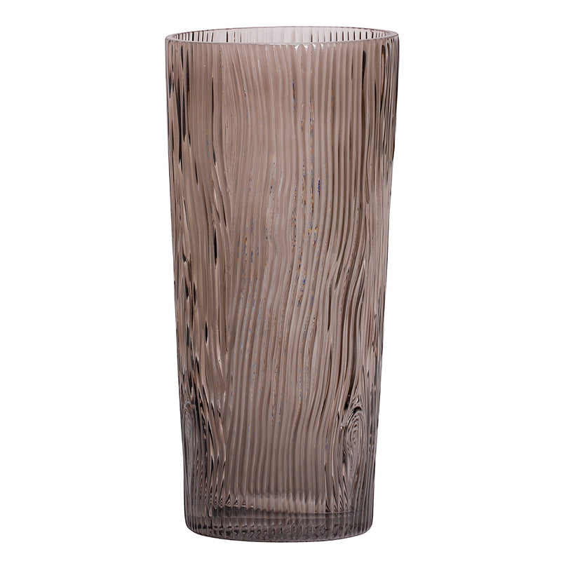 "ASPEN BARK PATTERN 11.75H"" SMOKE GLASS VASE"