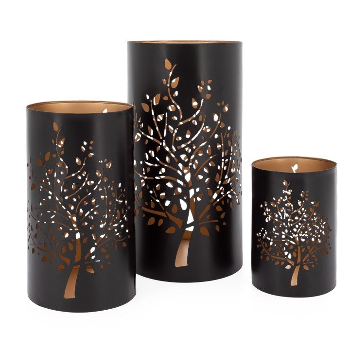 TREE METAL CUTOUT 3 PIECE HURRICANE CANDLE HOLDER SET